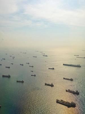 Aerial View Of Industrial Ships Art Print by Rachel Abygail / Eyeem