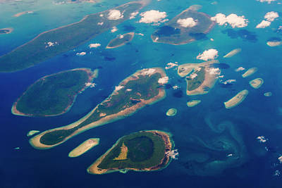 Aerial View Of Islands In The Ocean Art Print by Keren Su