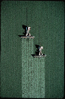 Lettuce Wall Art - Photograph - Aerial View Of Lettuce Being Harvested by Peter Menzel/science Photo Library