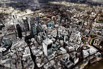 Gherkin Photograph - Aerial View Of London 3 by Mark Rogan