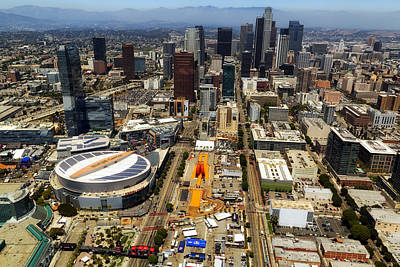 Staples Center Photograph - Aerial View Of Los Angeles by Mountain Dreams