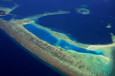 Photograph - Aerial View Of Maldivian Reefs by Jenny Rainbow