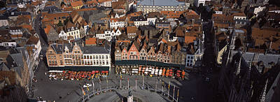 Belgian Photograph - Aerial View Of Marktplatz by Panoramic Images