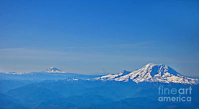 Photograph - Aerial View Of Mount Rainier Volcano Art Prints by Valerie Garner
