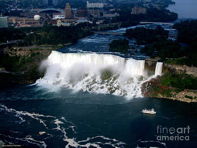 Aerial View Of Niagara Falls And River And Maid Of The Mist Art Print by Rose Santuci-Sofranko