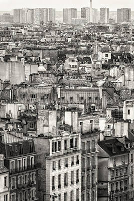 Photograph - Aerial View Of Paris. Black And White by Francesco Rizzato