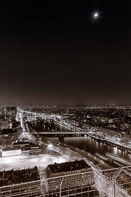 Photograph - Aerial View Of Paris In The Night. Black And White by Francesco Rizzato
