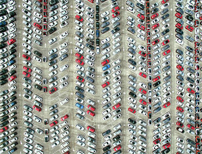 Photograph - Aerial View Of Parked Cars by Orbon Alija