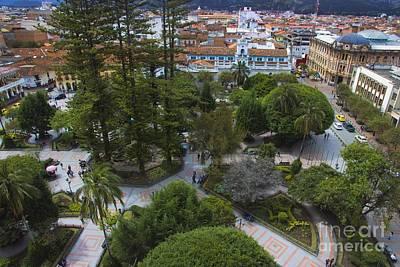 Immaculate Photograph - Aerial View Of Parque Calderon In Cuenca Ecuador by Al Bourassa