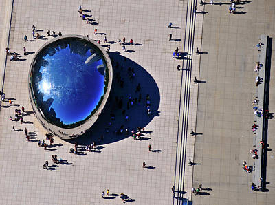 Aerial View Of People Standing By Cloud Art Print