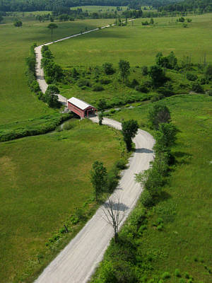 Photograph - Aerial View Of Red Covered Bridge  by Rob Huntley
