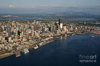 Photograph - Aerial View Of Seattle Skyline With Elliott Bay And Ferry Boat by Jim Corwin