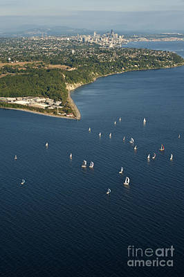Photograph - Aerial View Of Seattle Skyline With Sailboat Race On Puget Sound by Jim Corwin
