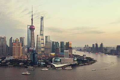 Photograph - Aerial View Of Shanghai by Weiyi Zhu