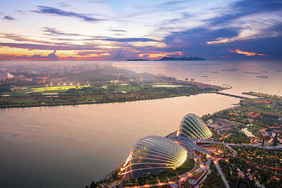 Aerial View Of Singapore With Sunset Art Print by Loveguli