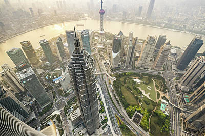 Photograph - Aerial View Of Skyscrapers In Shanghai by Yongyuan Dai