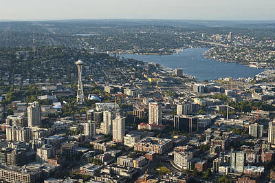 Photograph - Aerial View Of Space Needle And Lake Union by Jim Corwin