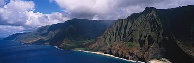 Featured Images Photograph - Aerial View Of The Coast, Na Pali by Panoramic Images