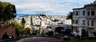 Bay Bridge Photograph - Aerial View Of The Lombard Street, Coit by Panoramic Images