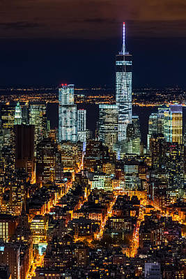 Photograph - Aerial View Of The Lower Manhattan Skyscrapers By Night by Mihai Andritoiu
