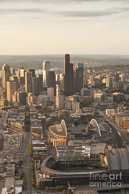 Photograph - Aerial View Of The Seattle Skyline With Stadiums by Jim Corwin