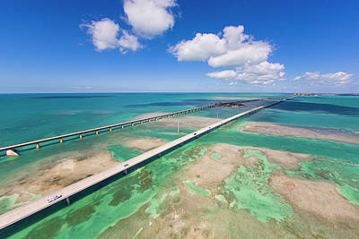 Aerial View Of The Seven Mile Bridge Art Print by Mike Theiss