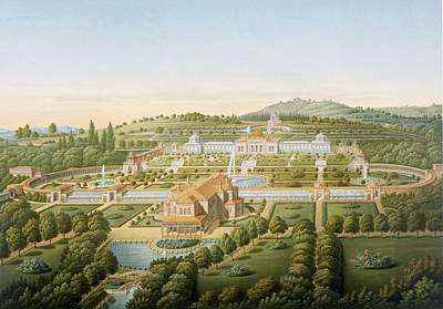 1781 Painting - Aerial View Of The Villa Of King by German School