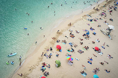 Walking Photograph - Aerial View Of Tourists On Beach by Alberto Guglielmi