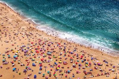 Aerial View Of Tourists On Beach Art Print by Dario Cingolani / Eyeem