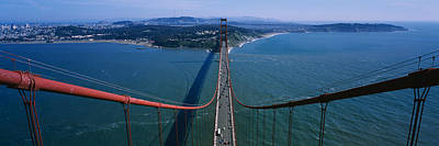 Birds Eye View Photograph - Aerial View Of Traffic On A Bridge by Panoramic Images