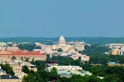 Aerial View Of Us Capitol From Rosslyn Art Print