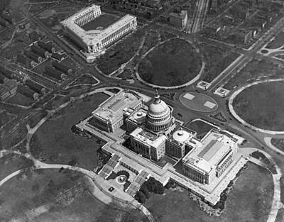 Capitol Building Photograph - Aerial View Of U.s. Capitol by Underwood Archives