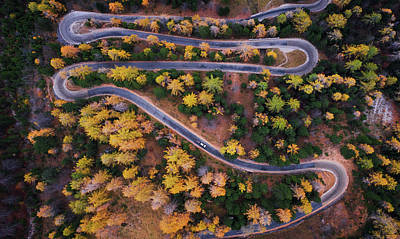 Perspective Photograph - Aerial View Of Vrsic Mountain Pass by Ales Krivec