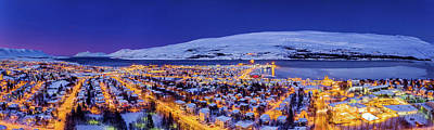 Snowy Night Photograph - Aerial View - Wintertime In Akureyri by Panoramic Images