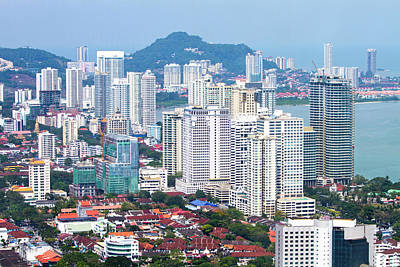 Aerial Views Over The City Of Penang Print by Micah Wright