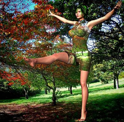 Park Scene Digital Art - Aerobics In The Park by Nancy Pauling