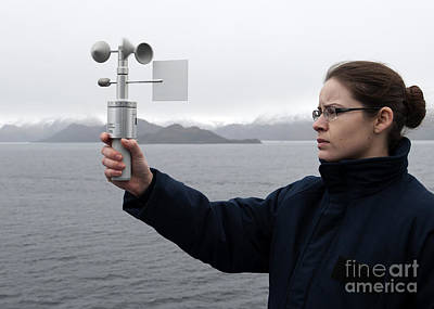 Anemometer Photograph - Aerographer's Mate Uses An Anemometer by Stocktrek Images