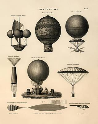 Antique Vessel Drawing - Aeronautics 1818 by Mountain Dreams