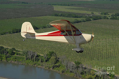 Aeronca Chief Flying Over Sacramento Art Print by Phil Wallick