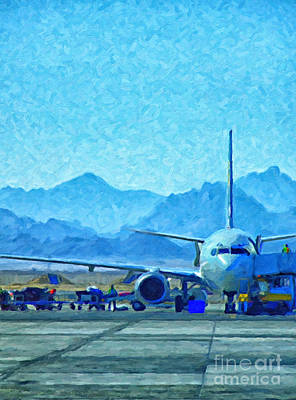 Asphalt Painting - Aeroplane At Airport by Antony McAulay