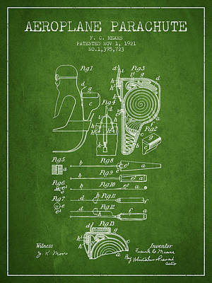 Skydiving Digital Art - Aeroplane Parachute Patent From 1921 - Green by Aged Pixel
