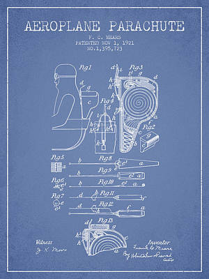 Skydiving Digital Art - Aeroplane Parachute Patent From 1921 - Light Blue by Aged Pixel