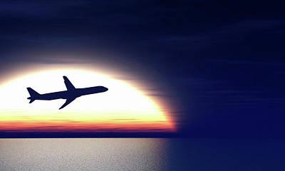 Peaceful Scene Photograph - Aeroplane Taking Off At Sunset by Wladimir Bulgar