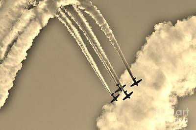 Photograph - Aeroshell Aerobatic Team In Sepia  by Lynda Dawson-Youngclaus
