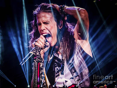 Aerosmith Steven Tyler Singing In Concert Art Print