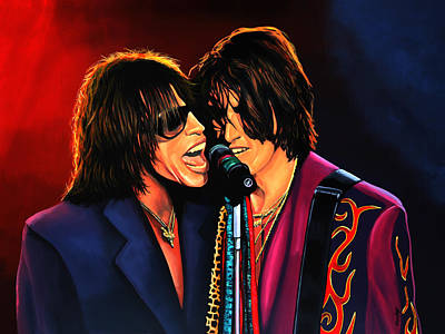 Steven Tyler Painting - Aerosmith Toxic Twins Painting by Paul Meijering