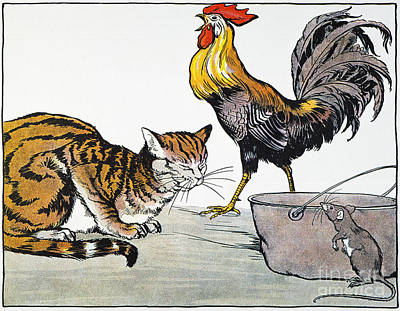 Aesop: Cat, Cock, And Mouse Art Print by Granger