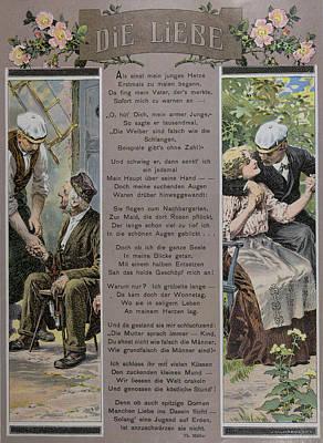 Czech Drawing - Affection. Man, Men, Woman, Smoking, Food And Drink by Mukarovsky, Josef (1851-1921), Czech