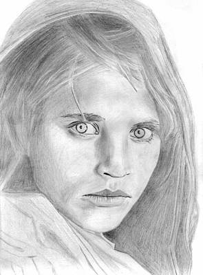 Drawing - Afghan Girl by Pat Moore