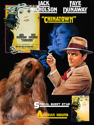 Painting - Afghan Hound Art - Chinatown Movie Poster by Sandra Sij